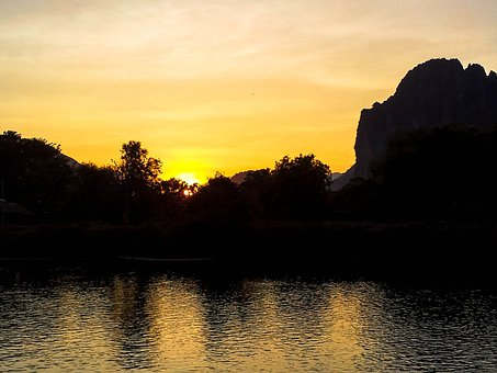 Laos, Vang Vieng, Sunset, Kasterberge, River, Xong