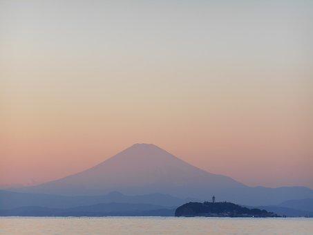 Mt Fuji, Sunset, Sea, Enoshima, Evening, Landscape