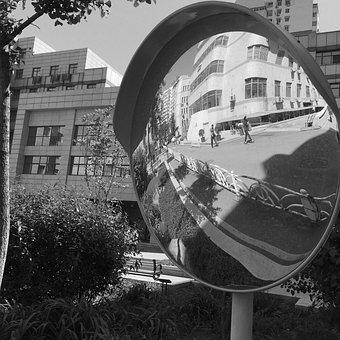 Spherical Mirror, Mirror, Building, Street, Reflection