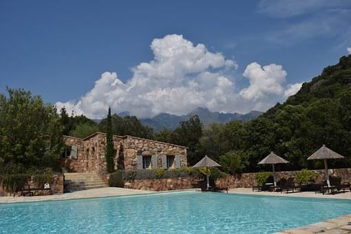 Clouds, Mountains, Corsica, Stone House