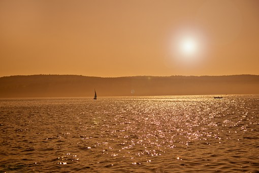 Sunset, Lake Constance, Water, Lake, Sun, Sunny, Sky
