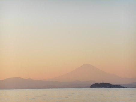 Sunset, Sea, Enoshima, Evening, Mt Fuji, Landscape