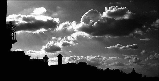 Florence, City View, Towers, Balcony, Silhouette