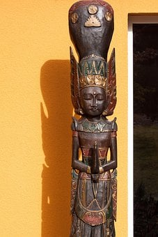 Temple Guardian, Bali, Wood, Painted, Carved