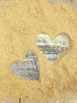 Sawdust, Hearts, Wooden, Love, Rustic, Romance