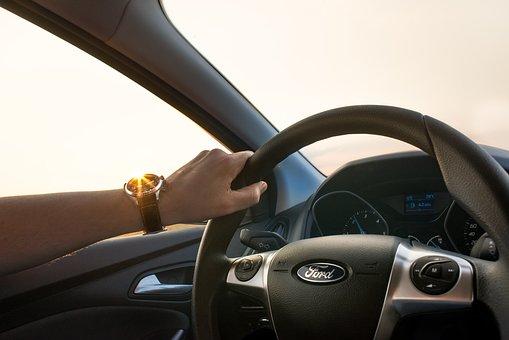 Car, Driving, Man, Wheel, Hand, Watch, Sun, Drive