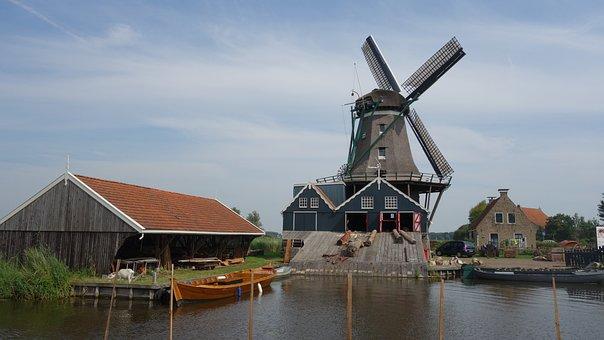Mill, Friesland, River, Sawmill, Holland, Landscape