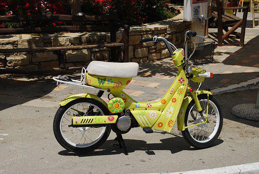 Moped, Colorful, Crete, Matala, Hippie Festival