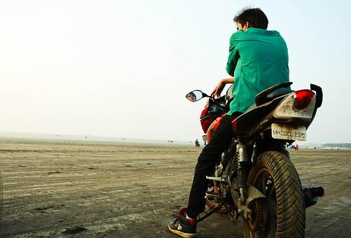 Bikes, Beach, India, Apache, String, Landscape, Boy