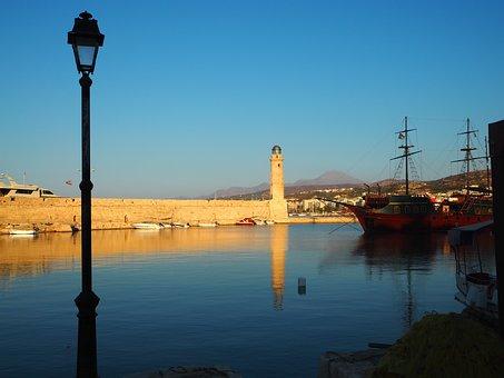 Holidays, Mediterranean, Rethymnon, Lighthouse, Port