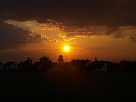 Sunset, Lübbecke, North Rhine Westphalia, Nature