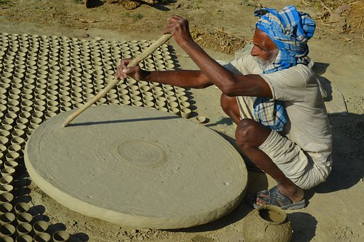 Pottery, Old Man, Working In Village, Human, Wrinkled