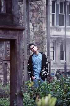 Young Man, Garden, City, Lost, Outdoor, Park, Fashion