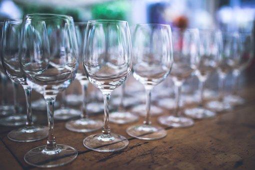 Empty, Wine, Glasses, Passel, A Lot Of, White Glass
