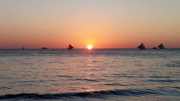 Beach, Sunset, Philippines, Ocean, Sky, Sun, Vacation