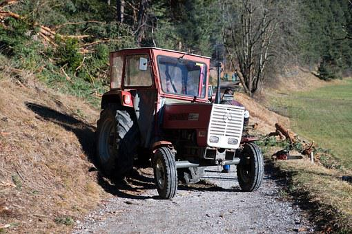 Steyr Tractor, Old, Agriculture, Red, Logging