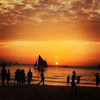 Boracay, Philippines, Sunset, Sailing, Orange Sky