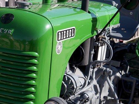 Tractor, Steyr, Motor, Diesel, Diesel Engine, Green