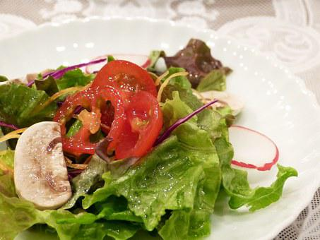 Vegetables, Healthy Salad, Dressing, Plate, Tomato