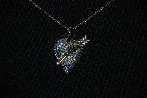 Pendant, Necklace, Heart, Jewelry, Diamonds, Chain