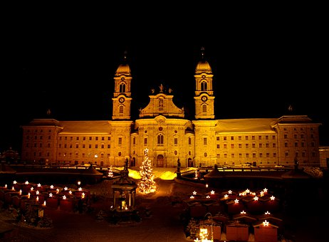 Einsiedeln Monastery, Christmas Market, Night, Lighting