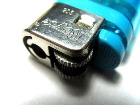 Lighter, Fire, Blue, Plasctic, Flammable, Fuel, Gas