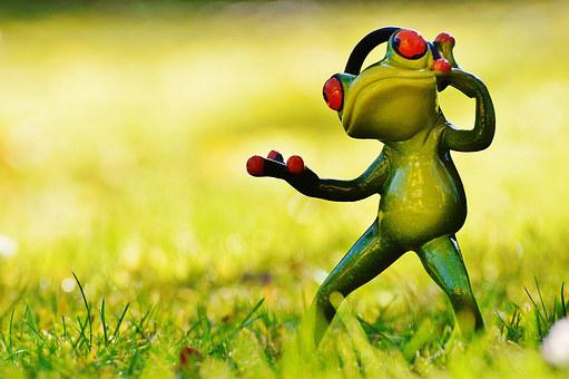 Frog, Meadow, Headphones, Music, Figure, Animal, Green