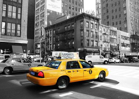 Taxi, New York, United States, Buildings, Downtown, Car