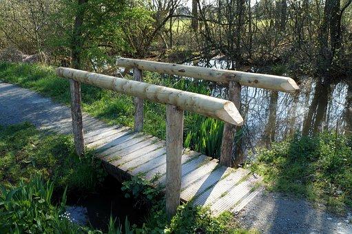 Footbridge, Wood, Pedestrian, Bridge, Stream, Nature