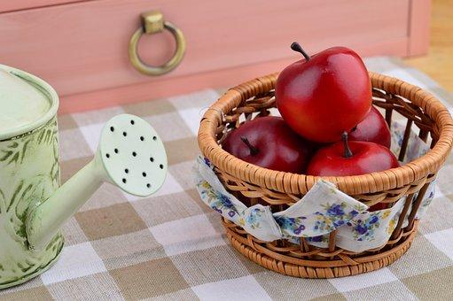 Apple, Still Life, Red Fruits, Make Sprinklers, Basket