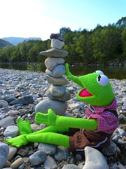 Kermit, Frog, Stones, Build Tower, Cairn, Stone Tower