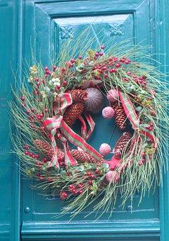 Door, Decoration, Wreath, Christmas, Branches, Balls