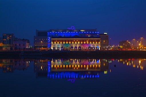 Dublin, O2, Reflection, Water, Building, Blue