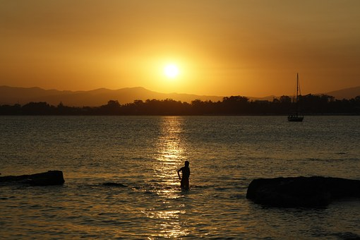 Sea, Sunset, Beach, Abendstimmung, Sail, Boot, Boy