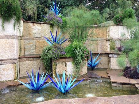 Chihuly, Blue Glass, Waterfall, Dallas, Garden, Park
