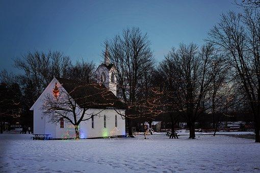 Christmas Church, Church At Night, Holiday Church