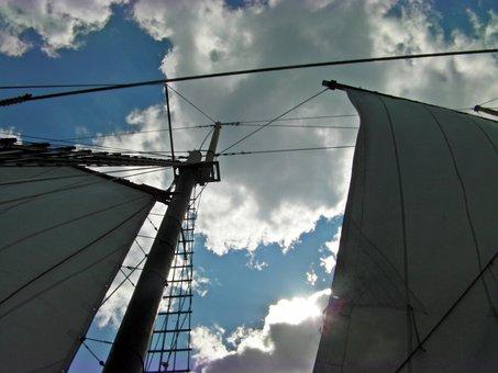 Perspective, Blue, Clouds, Rain, Sail, Nature, Dark