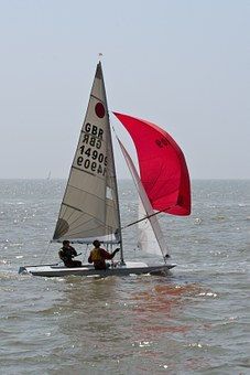 Two Man Dingy, Dingy, Full Sail, Red, Water, Sailing