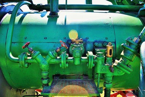 Steam Engine, Engine, Steam, Part, Green, Pipes, Gauges