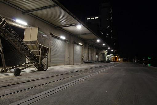 Industry, Warenlager, Stock, Night, Dark, Port