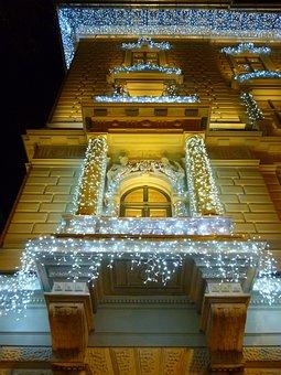 Light, Facade, Building, Christmas, Balcony, Budapest