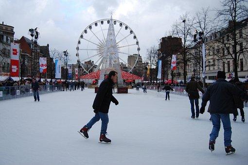 Ice Skating, Skating Slopes, Ferris Wheel, Brussels