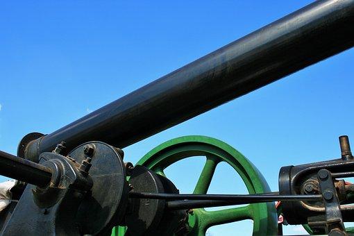 Steam Engine, Engine, Steam, Black, Green, Iron, Stack