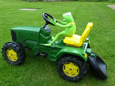 Tractor, Drive, Toys, Kermit, Frog