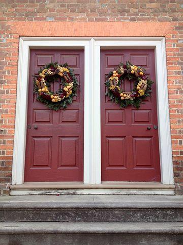 Doors, Wreath, Christmas, Holiday, Decoration, Season