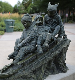 Statue, Outside, Children, Sled, Outdoors, Bronze