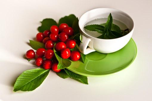 Mint, Tee, Charries, Cherry, Leaves, Leaf, Green, Eco