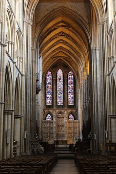 Cathedral, Stained Glass, Church, Columns, Catholicism