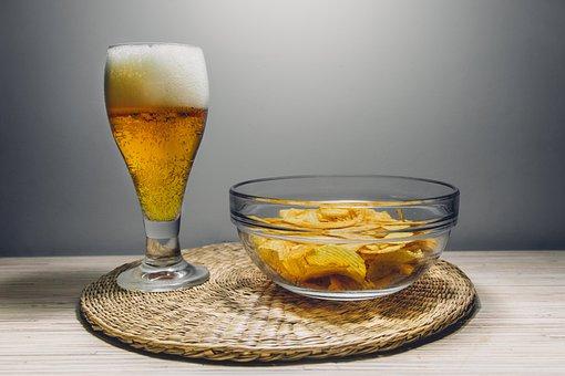 Beer, Alcohol, Brew, Drink, Chips, Snacks, Food, Bowl