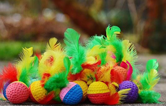 Foam Balls, Feather, Colorful, Toys, Cat, Play, Balls